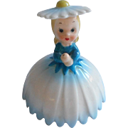 Napco Flower Girl Figurine No Umbrella Vintage China Blue