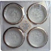 Coasters Silver Frames Glass Vintage 1960s Sealed In Original Package