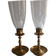 Brass Candlesticks Hurricane Glass Shades Pair Vintage
