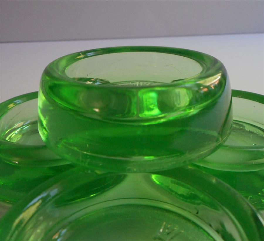 Depression Era Glass Furniture Coasters Vintage Green Hazel Atlas Set From Rubylane Sold On Ruby