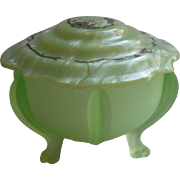 1920s Vanity Jar Green Satin Glass Celluloid Lid Vintage Powder