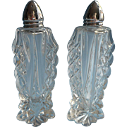 Cut and Pressed Crystal Salt Pepper Shakers Vintage Tall