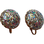 Lucite Confetti Vintage SAC Earrings Multi Colored Glitter
