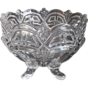 Transitional EAPG Pressed Glass Footed Bowl Ferner Antique Glass