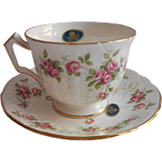 Aynsley Grotto Rose Cup Saucer Vintage Bone China Labels
