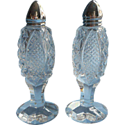 Crystal Shakers Cut and Pressed Vintage Salt Pepper Chrome Tops