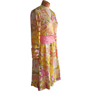 Silk Dress Vintage ca 1968 Pink Yellow Print Chiffon Stripe