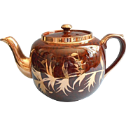 Gibson Tortoise Glaze Gold Teapot Vintage Brown English China