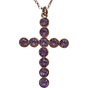 Antique Cross Chain Amethyst Color Paste Stones Gold Filled