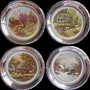 Porcelain Silver Coasters Wine Currier Ives Four Seasons Vintage Set 4 - Red Tag Sale Item