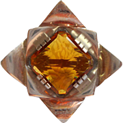 Art Deco Sterling Vermeil Brooch Pin Vintage Topaz Colored Glass Stone