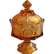 Fostoria Amber Coin Pedestal Candy Dish w Lid Vintage