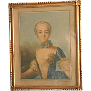 1920s Gilt Wood Frame Vintage Mezzo Tint French Lady English Print