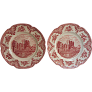 Pink Old Britain Castles Johnson Brothers England 2 Dinner Plates Vintage