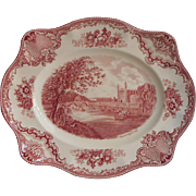 Pink Old Britain Castles Johnson Brothers England Platter Vintage