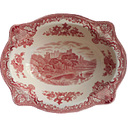 Pink Old Britain Castles Johnson Brothers England Serving Bowl Vintage