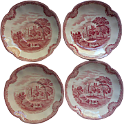 Pink Old Britain Castles Johnson Brothers England 4 Saucers Vintage