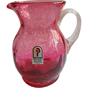 Cranberry Glass Vintage Pilgrim Mini Pitcher Vintage Original Label