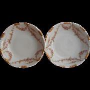 Haviland Limoges 2 Sauce Fruit Dishes Bowls Pink Gold Antique China