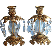 Ornate Candlesticks Vintage Prisms Metal Lucite Hollywood Regency