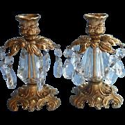 Ornate Candlesticks Vintage Prisms Metal Lucite Hollywood Regency - Red Tag Sale Item