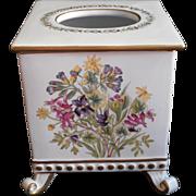 Chelsea House Botanical Tissue Box Holder Vintage Ceramic