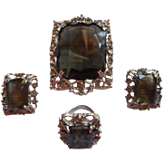 Celebrity Sarah Coventry Vintage Set Brooch Pendant Earrings Ring
