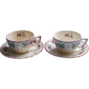 American Limoges Old Dutch China Vintage 2 Cups 2 Saucers TLC