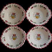 American Limoges Old Dutch China Vintage 4 Cereal Bowls