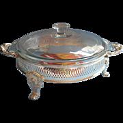 Silver Glass Vintage Unused Baking Dish Ornate Frame Serving