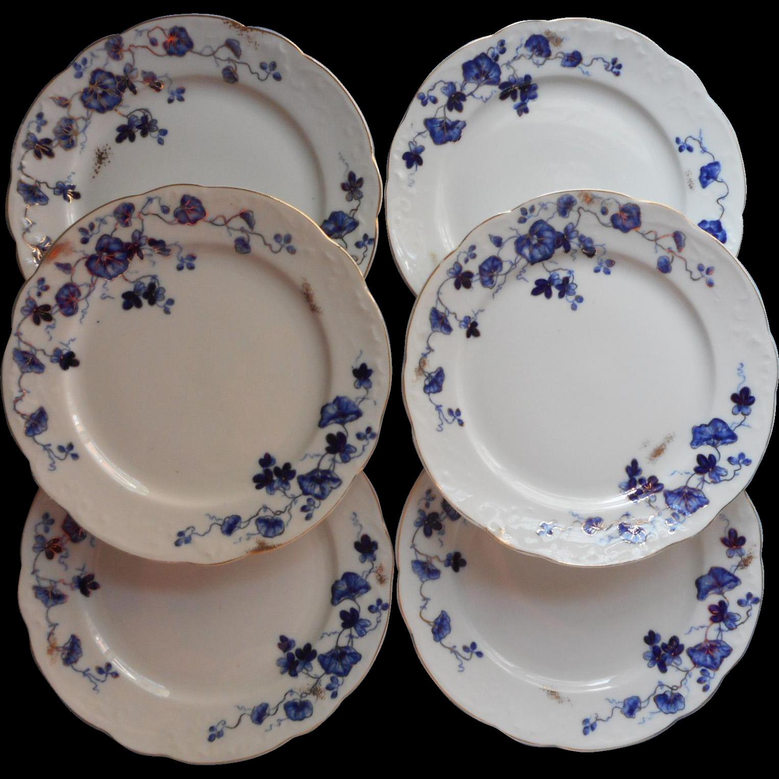 Flow blue plates antique china dessert salad set o p co