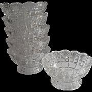 Dessert Berry Bowls Set 6 Antique Pressed Glass Pedestal Footed