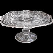 Cake Stand EAPG Antique Pressed Glass Hobstar Omnibus Keystone Pedestal TLC