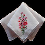 Hankie Vintage Hand Embroidered Pink Carnations