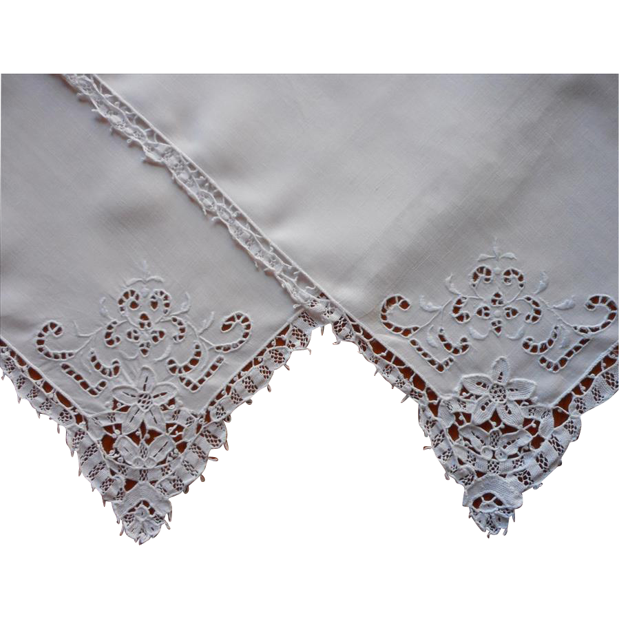 2 napkins needle lace linen cutwork hand embroidery for Glass cut work designs