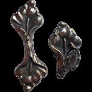 Calla Lily Buckle Parts Slides Antique Art Nouveau German Silver