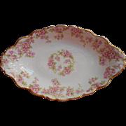 Elite Limoges China Antique Relish Dish Bowl Brodal RoseFrench
