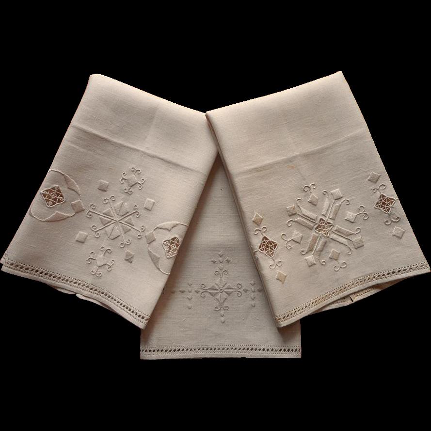 Vintage Towels: 1920s Italian Work Hand Towels Vintage Unused 3 Hand