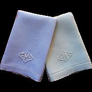Monogram M Towels Vintage 1920s Linen Pair Blue Green