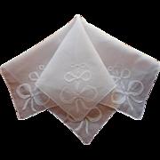 Madeira Hankie Bows Applique Vintage Fine Linen