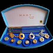 Vintage Swiss Watch Set Convertible Bezels Straps Necklaces Magy 17 Jewel