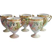 Hand Painted China Wine Punch Cups Antique Grapes Spider Webs Prussia