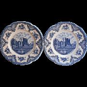 Old Britain Castles Blue 2 Dinner Plates Vintage England Johnson Brothers China