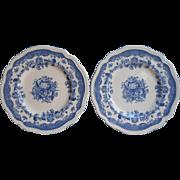 Persian Tulip Blue 2 Bread Plates Vintage Johnson Brothers England China
