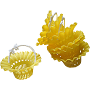 Vintage Plastic Party Favor Baskets Candy Yellow White