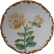 French Limoges Plate Yellow Rose Antique China Tressemanes and Vogt