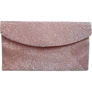 Sugar Pink Walborg Vintage Glass Bed Beaded Clutch Purse Iridescent