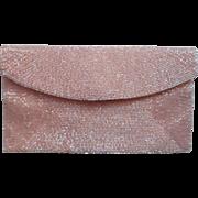 Sugar Pink Walborg Vintage Glass Bed Beaded Clutch Purse Iridescent