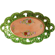 1930s Pierced China Little Tray Hand Painted Japan Green Peach