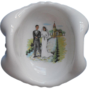 Bride Groom Vintage Milk Glass Wedding Ring Dish Charming